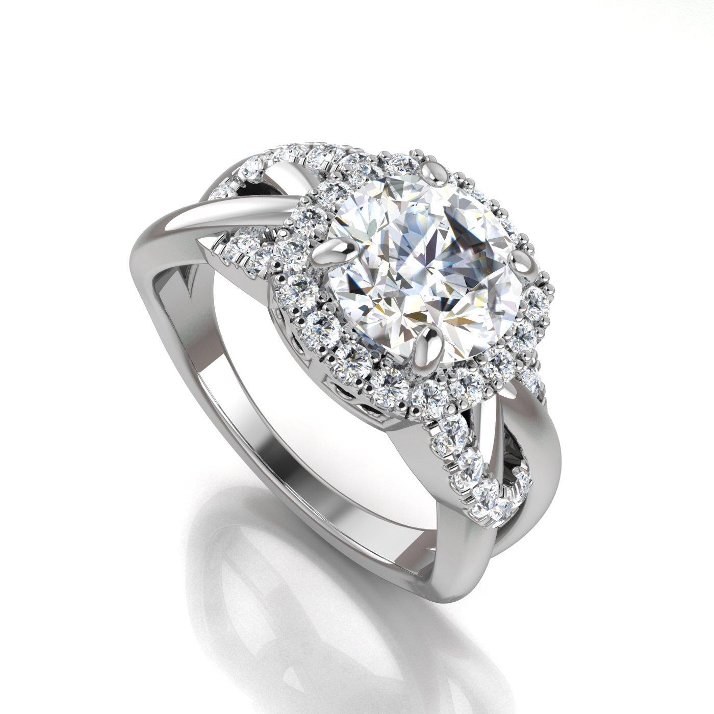 Certified 1.45 Ct White Round Cut Bridal Wedding Engagement Ring 14k White Gold Engagement & Wedding Diamond