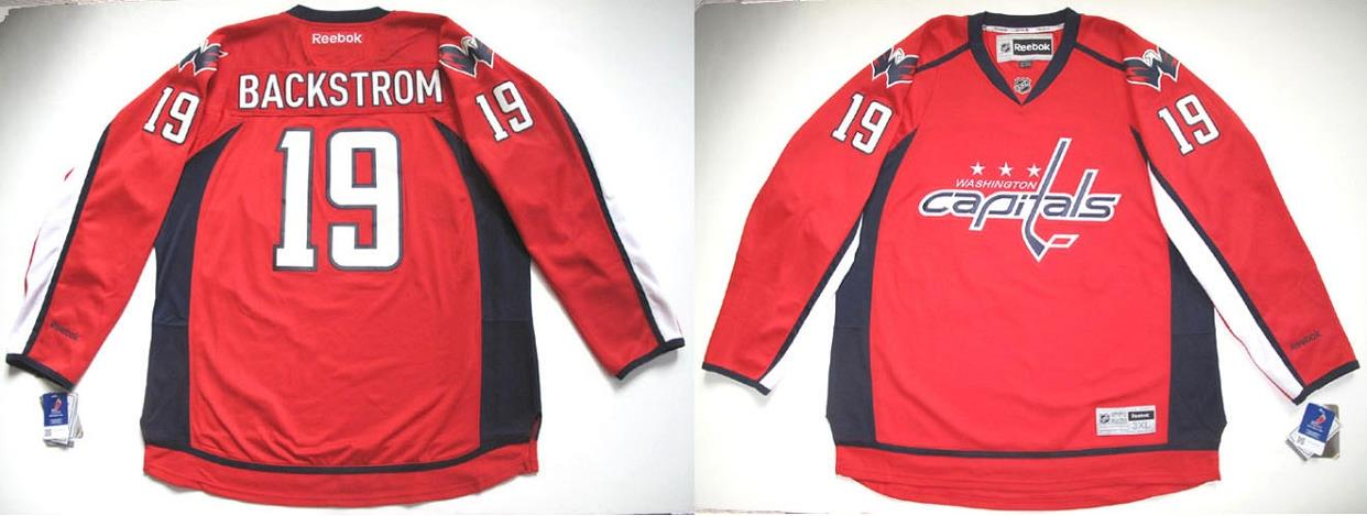 aea61bf0654 Details about RBK WASHINGTON CAPITALS NICKLAS BACKSTROM PREMIER RED HOME  JERSEY 3XL