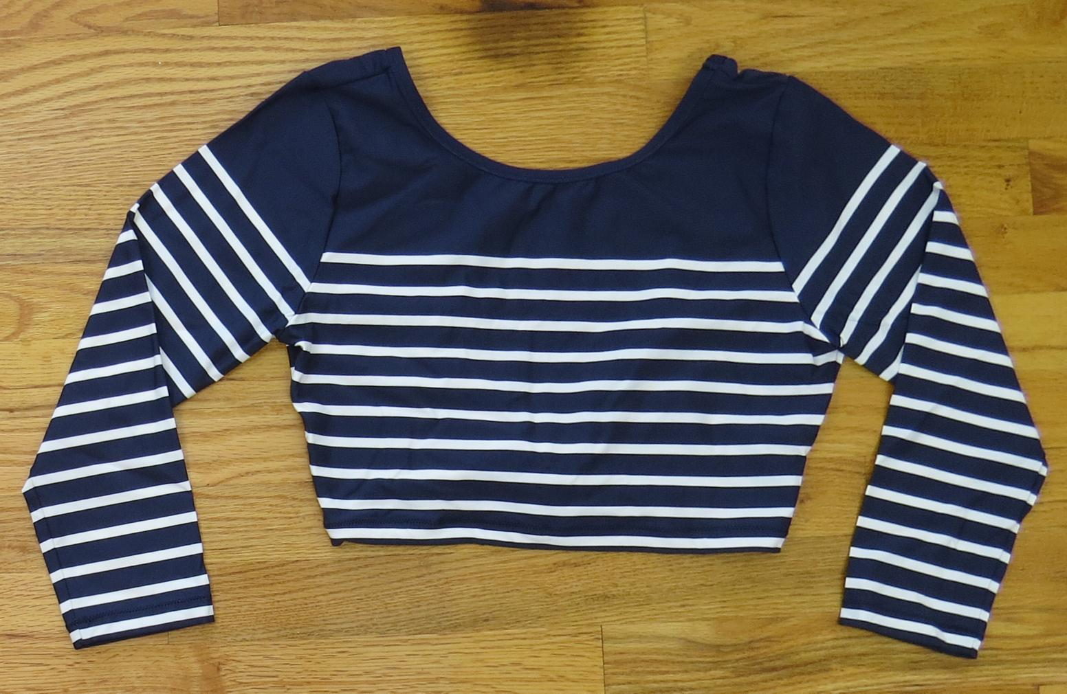 28f6bda6d7 Details about JCrew Cropped Rash Guard Nautical Stripe Swim UPF H7624  88  Navy Ivory M