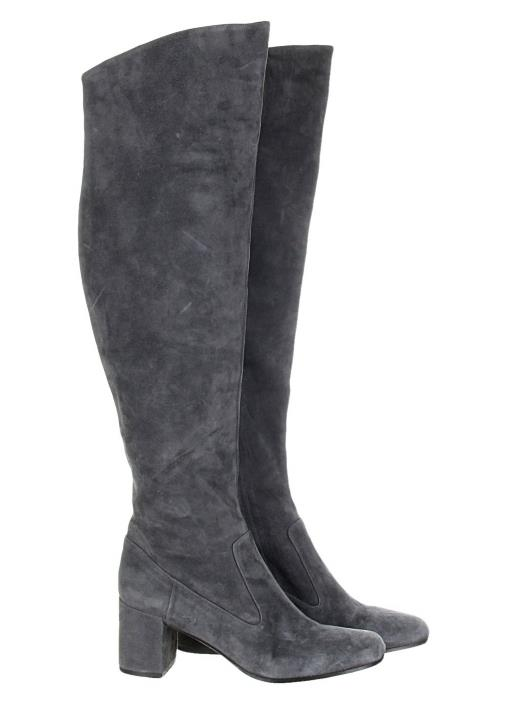 30942faf71a VINCE Blythe Grey Suede Leather Over the Knee OTK Boots Tall Boots 7.5 NEW   695