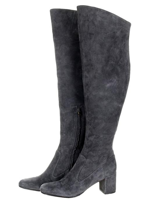 VINCE the Blythe Grau Suede Leder Over the VINCE Knee OTK Stiefel Tall Stiefel 5 ... 60e363