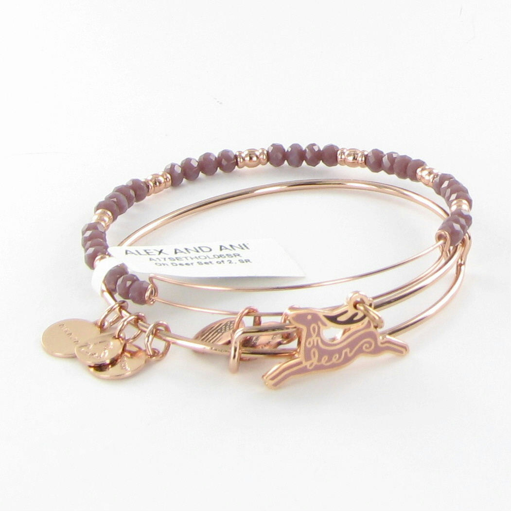 Alex And Ani Oh Deer Set Of 2 Bangle Bracelets Shiny Rose
