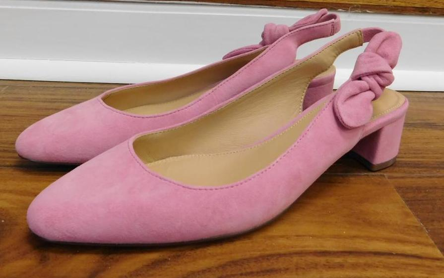 6242bd04f2d Details about JCrew Slingback bow block pumps (40mm) in suede Sz 7 dusty  begonia H8181