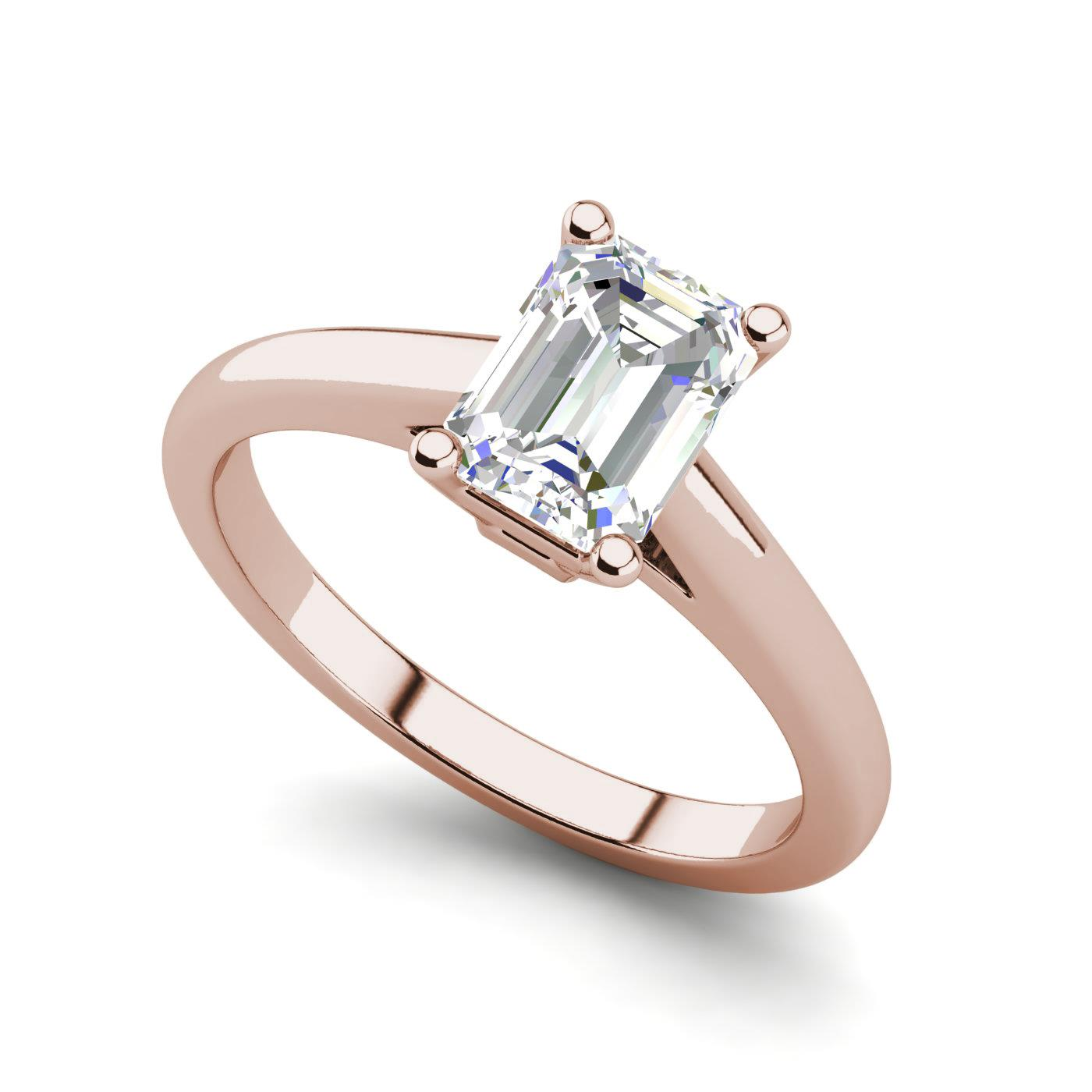 rings solitaire ct rose milgrain d ring itm emerald cut diamond engagement gold