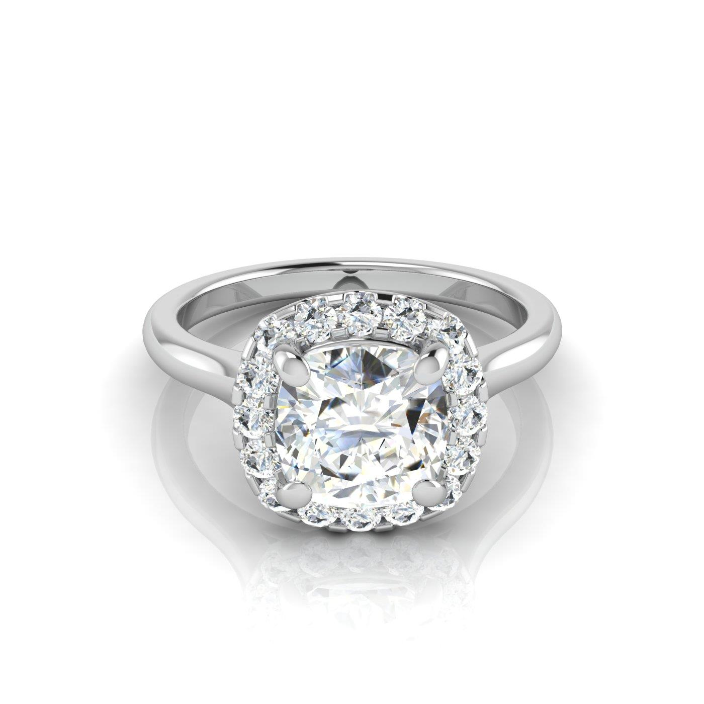 cusion shank in cut white split solitaire with cushion diamond platinum