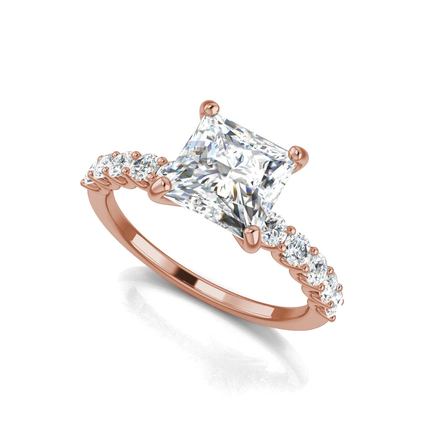 engagement rings bypass in gold solitaire diamond twisted cut prong princess ring rose jewellery
