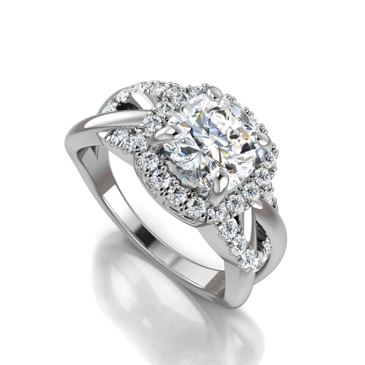 center tw gold diamond white halo ring cushion of forevermark platinum in my universe cusion