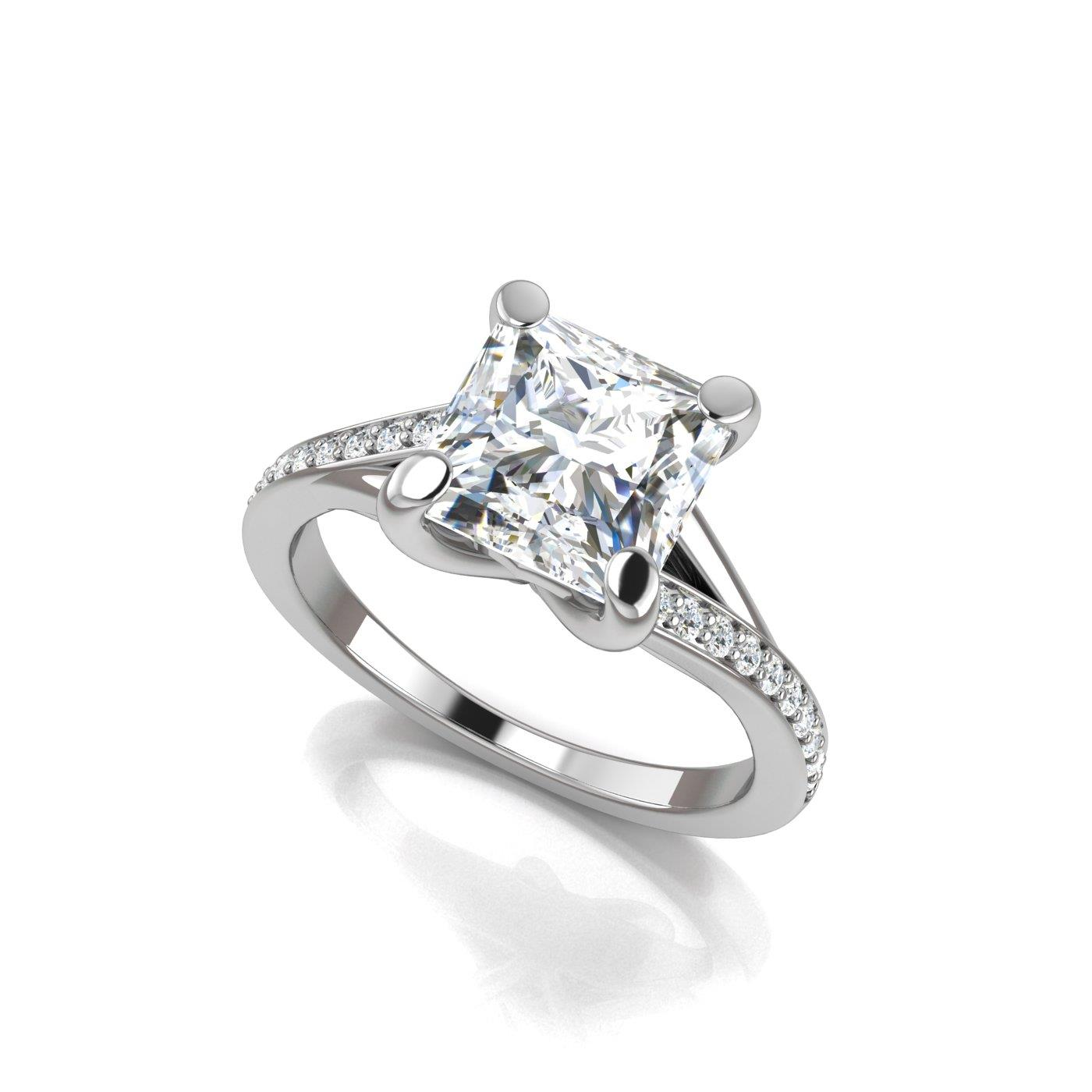 bypass rings jewellery solitaire engagement cut twisted gold princess rose ring prong diamond in