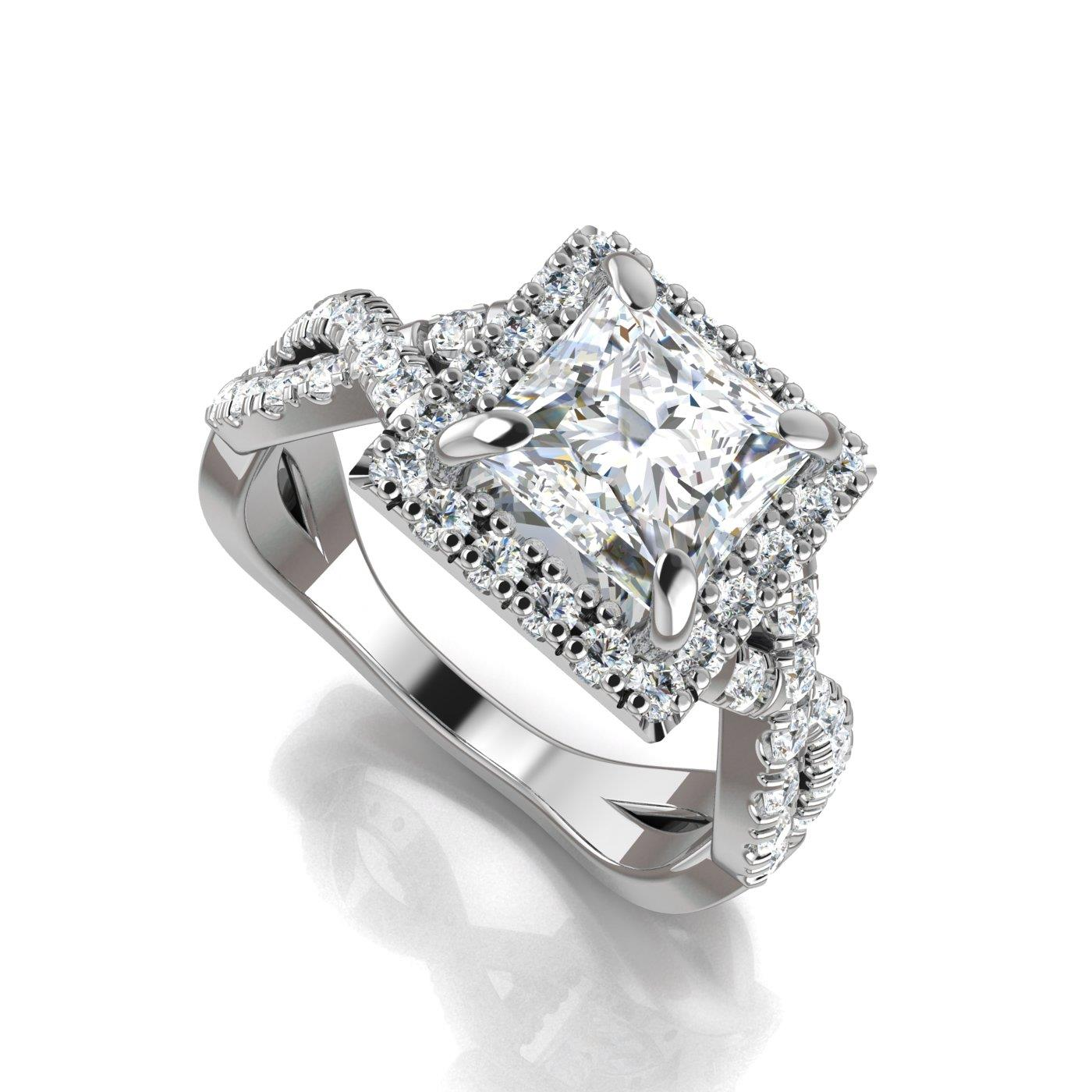 and go ri in rings halo ring fiorire quot square profile white princess cut engagement diamond jewellery uneek with pave shank