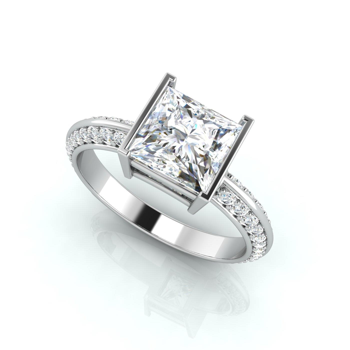 rings accents diamond princess cut halo with product round pave p jewellery ring engagement side