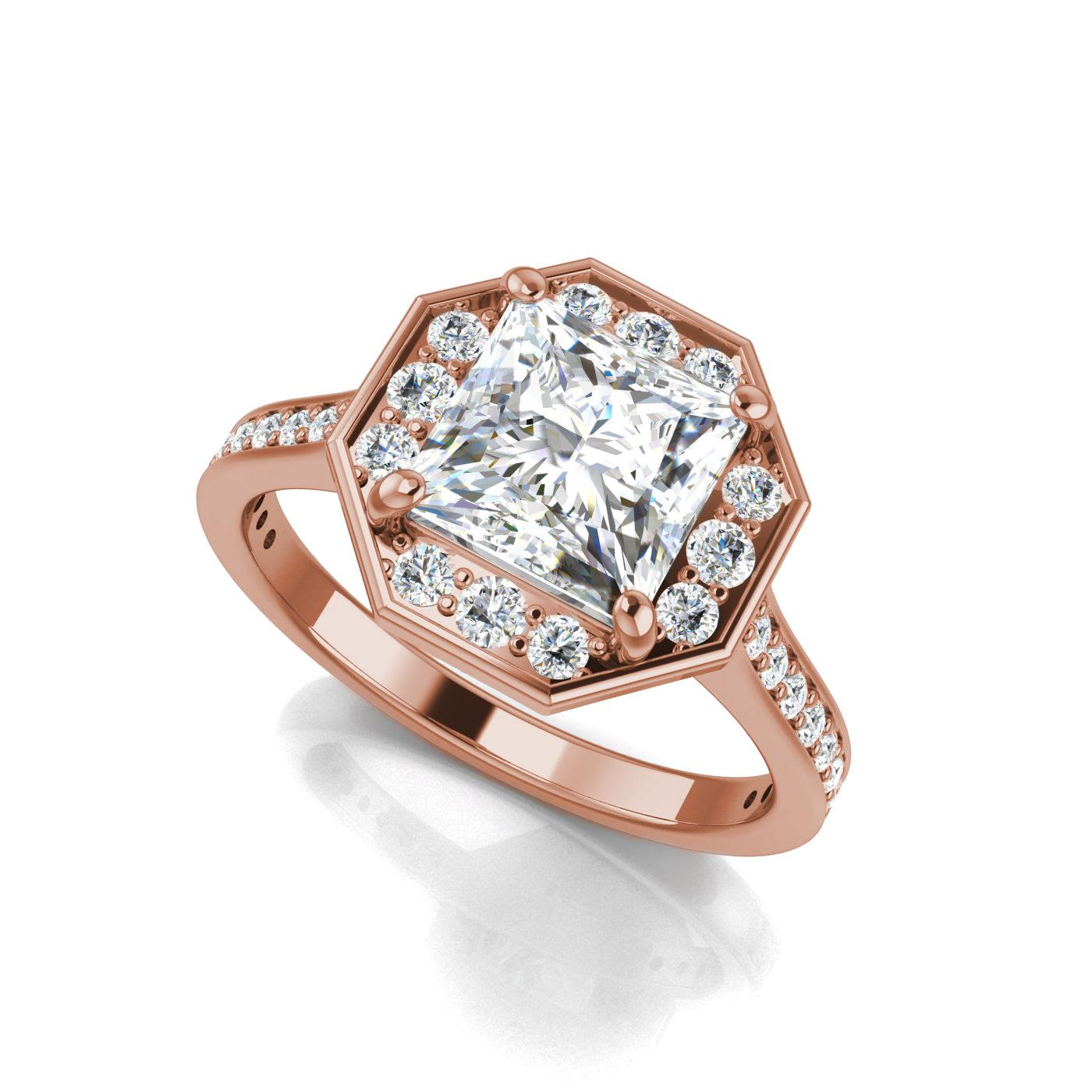 band halo gold engagement cut diamond products with in rings white ring danabronfman hammered rose grey tcw