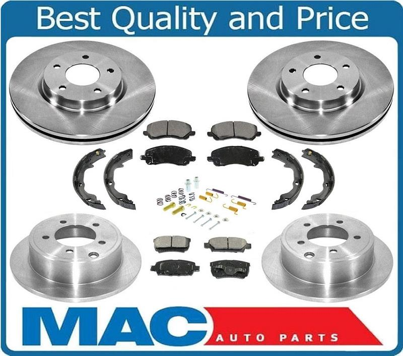 Front /& Rear Disc Brake Rotors Pads Parking Shoes for Dodge Caliper 07-2012 8pc